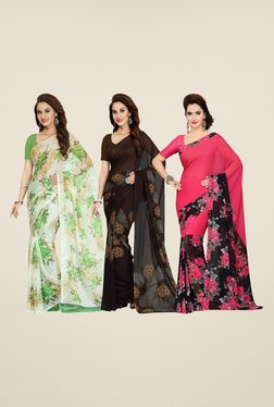 Ishin White, Brown & Pink Printed Cotton Saree (Pack Of 3)