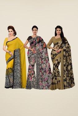 Ishin Yellow, Black & Beige Printed Cotton Saree (Pack Of 3)