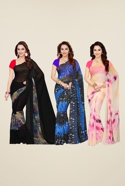 Ishin Black, Blue & Pink Printed Cotton Saree (Pack Of 3)