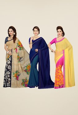 Ishin Navy, Blue & Pink Printed Cotton Saree (Pack Of 3)