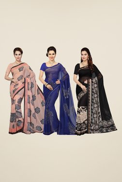 Ishin Peach, Blue & Black Printed Cotton Saree (Pack Of 3)