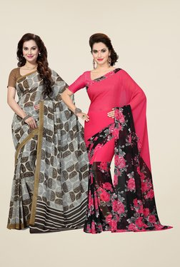 Ishin Grey & Pink Printed Cotton Saree (Pack Of 2)