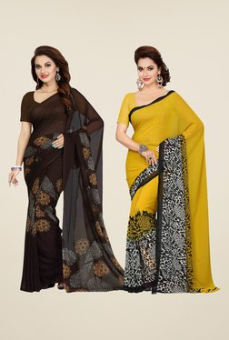 Ishin Brown & Yellow Printed Cotton Saree (Pack Of 2)