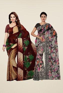 Ishin Maroon & Grey Printed Cotton Saree (Pack Of 2)