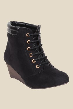 MSC Black Wedge Heeled Booties