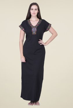 honeydew Black Embroidered Night Gown