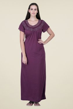 honeydew Purple Embroidered Night Gown