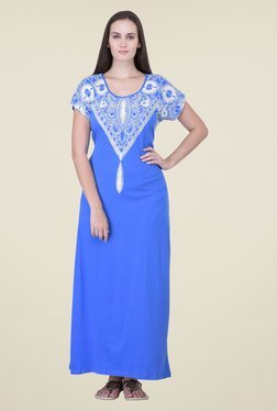 honeydew Blue Printed Night Gown