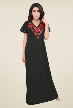 6fd185220d honeydew Black Embroidered Night Gown