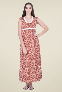 honeydew Red Printed Night Gown