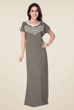 honeydew Grey Embroidered Night Gown
