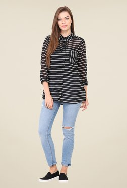 Free & Young Black Striped Shirt