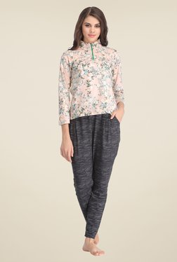 Clovia Peach & Grey Floral Print Pyjama Set
