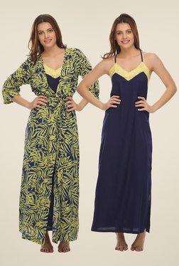Clovia Yellow & Navy Printed Nighty With Robe