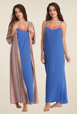 Clovia Peach & Blue Printed Nighty With Robe