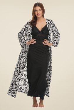 Clovia White & Black Printed Nighty With Robe