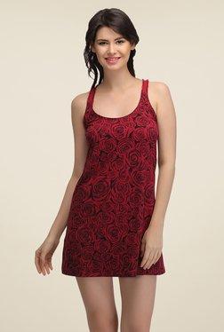 Clovia Red & Black Floral Print Baby Doll