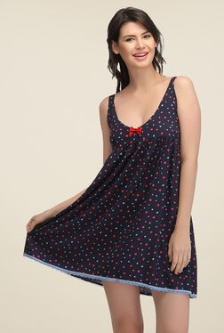 Clovia Navy Heart Print Night Dress