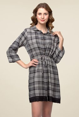 Clovia Grey Checks Night Dress