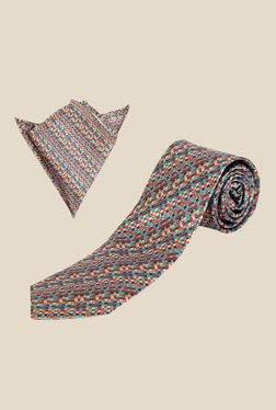 Blacksmith Satin Cross Printed Tie with Pocket Square