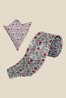 Blacksmith Intricate Floral Printed Tie with Pocket Square