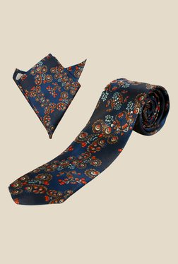 Blacksmith Navy Japanese Floral Tie with Pocket Square