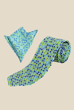 Blacksmith Blue Polka Dotted Tie with Pocket Square