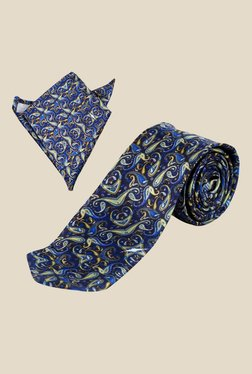 Blacksmith Paisley Printed Blue Tie with Pocket Square