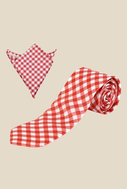 Blacksmith Red Gingham Chequered Tie with Pocket Square