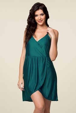 Clovia Teal Solid Night Dress