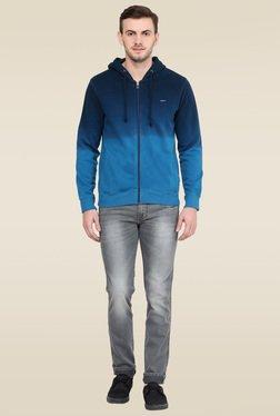 Wrangler Blue Full Sleeves Solid Sweatshirt