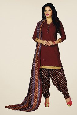 Salwar Studio Maroon & Black Unstitched Patiala Suit