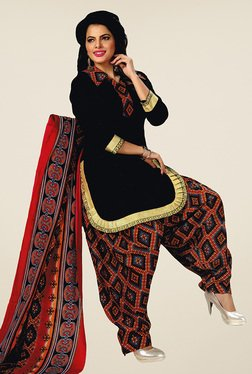 Salwar Studio Black & Red Unstitched Patiala Suit