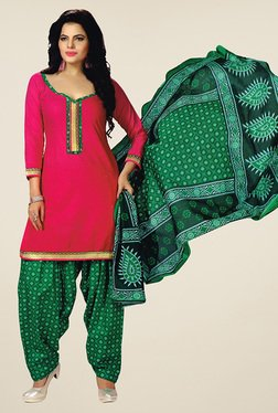 Salwar Studio Pink & Green Unstitched Patiala Suit
