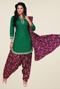 Salwar Studio Green & Pink Unstitched Patiala Suit