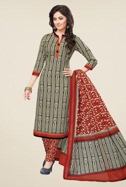 Salwar Studio Black & Rust Printed Dress Material