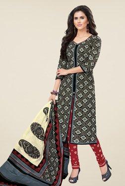 Salwar Studio Black & Maroon Printed Dress Material