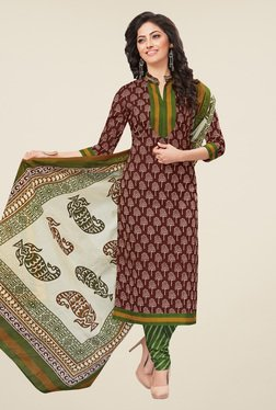 Salwar Studio Brown & Olive Printed Dress Material
