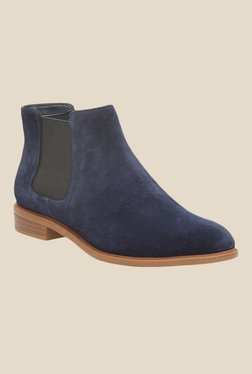 Clarks Taylor Shine Navy Chelsea Boots