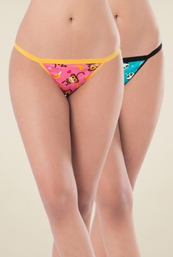 PrettySecrets Pink & Turquoise Thong Panties (Pack Of 2)