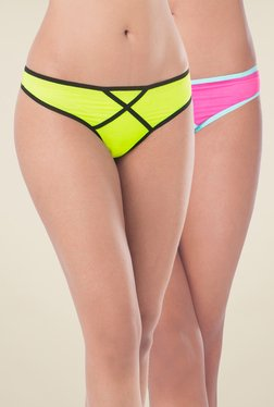 PrettySecrets Lime & Pink Solid Bikini Panties (Pack Of 2)