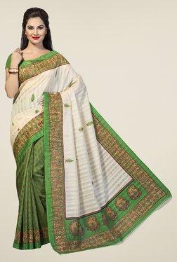 Ishin Green & Beige Printed Bhagalpuri Silk Saree