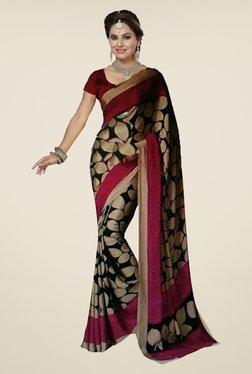 Ishin Black Printed Art Silk Saree
