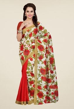 Ishin Red & Off White Floral Print Art Silk Saree