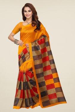 Ishin Yellow & Beige Checks Bhagalpuri Silk Saree
