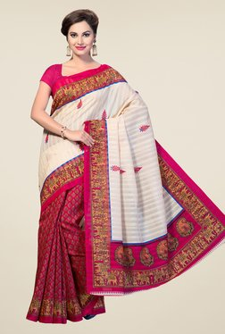 Ishin Pink & Off White Printed Bhagalpuri Silk Saree