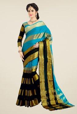 Ishin Blue & Black Striped Cotton Silk Saree