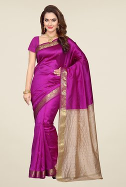 Ishin Purple Printed Poly Silk Saree