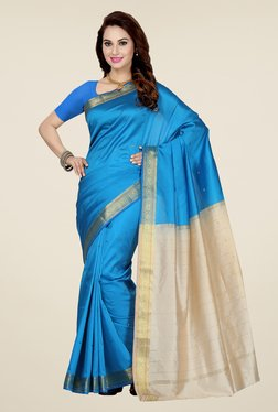 Ishin Blue Printed Poly Silk Saree