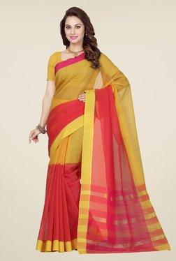 Ishin Yellow & Red Checks Cotton Saree
